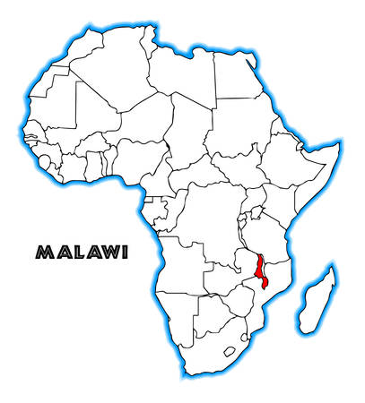 inset: Malawi outline inset into a map of Africa over a white background Illustration