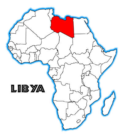 Libya Outline Inset Into A Map Of Africa Over A White Background - Libya blank map