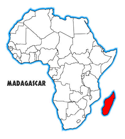 africa outline: Madagascar outline inset into a map of Africa over a white background
