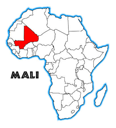 Mali Outline Inset Into A Map Of Africa Over A White Background ...