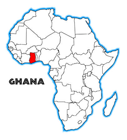 africa outline: Ghana outline inset into a map of Africa over a white background Illustration