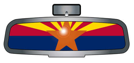 rear view mirror: A vehicle rear view mirror with the flag of the state of Arizona