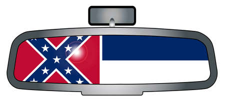 rear view mirror: A vehicle rear view mirror with the flag of the state of Mississippi Illustration