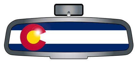 rear view mirror: A vehicle rear view mirror with the flag of the state of Colorado