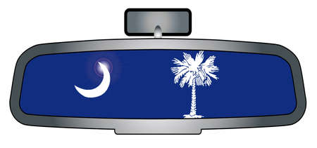 rear view mirror: A vehicle rear view mirror with the flag of the state of South Carolina Illustration