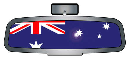 rear view mirror: A vehicle rear view mirror with the flag Australia