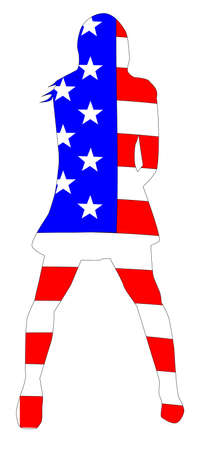vocalist: The stars and stripes inset into the silhouette of a rock and roll girl