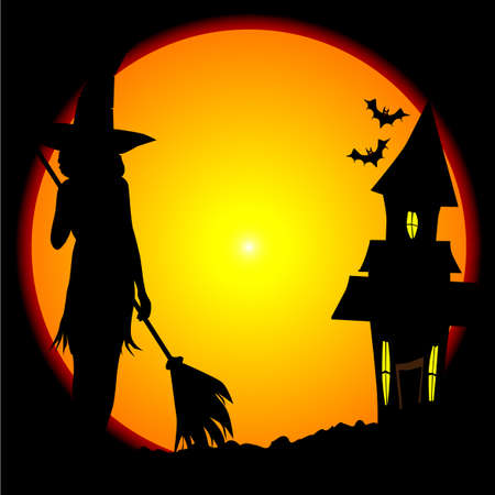 halloween witch: Eerie Halloween scene with moon and witches house Illustration