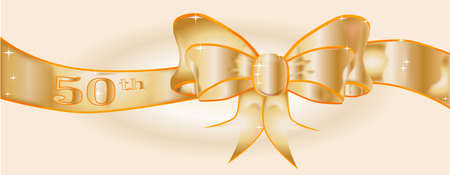 A large silk ribbon tied into a bow with a gold background with a few sparkles and the text 50th