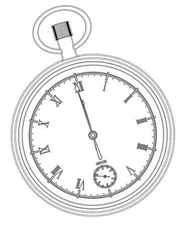 A pocket watch showing midnight over a white background