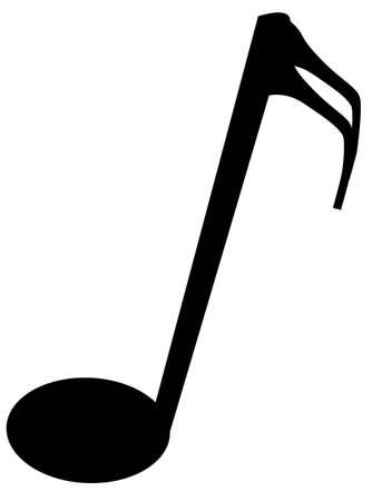 quaver: The musical not semi quaver over a white background Illustration