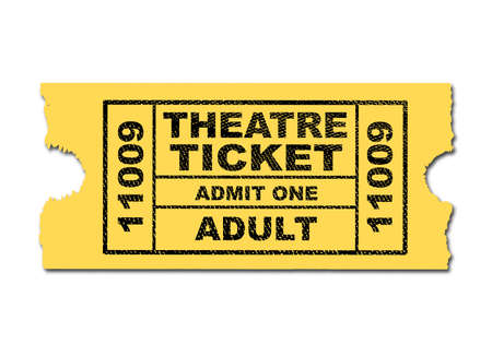 admit: A yellow Theatre ticket ro admit one adult isolated on a white background