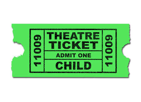 one isolated: A green child theatre ticket to admit one isolated on a white background