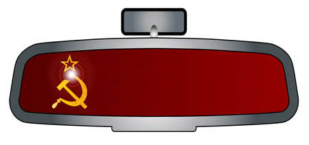 rear view mirror: A vehicle rear view mirror with the flag of Russia Illustration