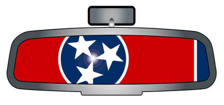 rear view mirror: A vehicle rear view mirror with the flag of Tennessee