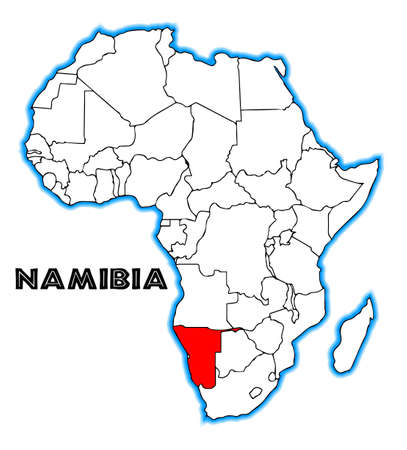namibia: Namibia outline inset into a map of Africa over a white background Illustration