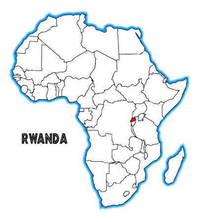 Rwanda Outline Inset Into A Map Of Africa Over A White Background ...