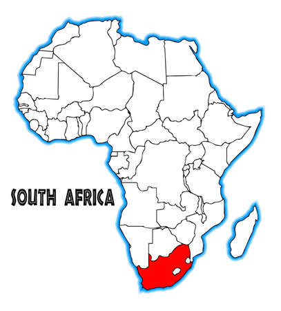 africa outline: South Africa outline inset into a map of Africa over a white background