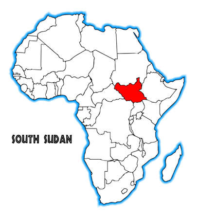 south sudan: South Sudan outline inset into a map of Africa over a white background