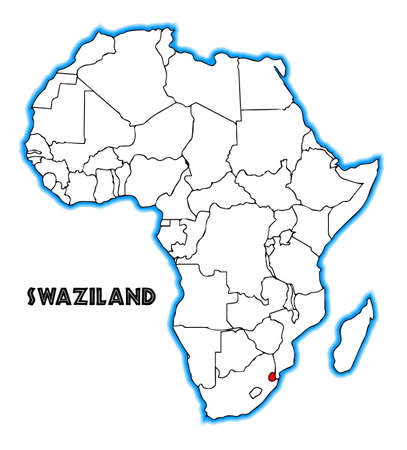 inset: Swaziland outline inset into a map of Africa over a white background
