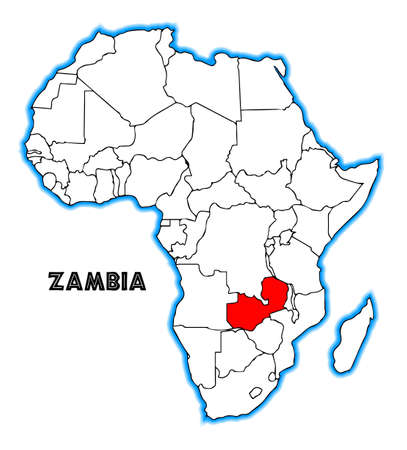 inset: Zambia outline inset into a map of Africa over a white background