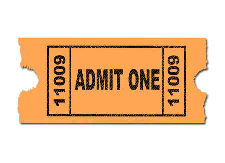 admit: A yellow ticket to admit one on a white background Illustration