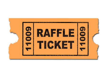 A yellow ticket for a raffle on a white background