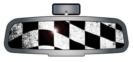 rear view mirror: A vehicle rear view mirror with the checkered winners flag Illustration