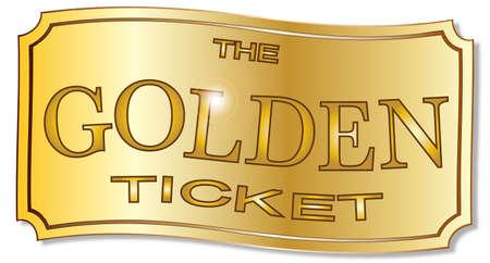 A golden winner ticket over a white background