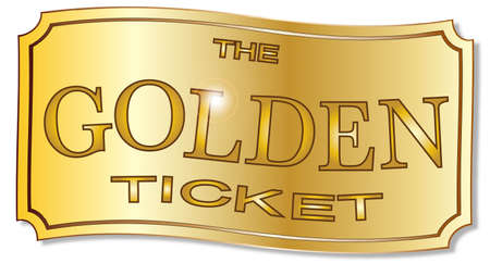 A golden winner ticket over a white background