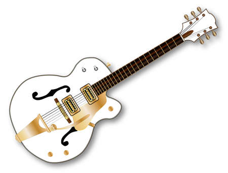 gent: A typical country and western guitar in white over a white background