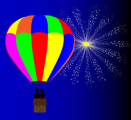 hot couple: A typical multi coloured hot air balloon floating away with a couple in silhouette in the basket set against a 4th July celebration sky rocket