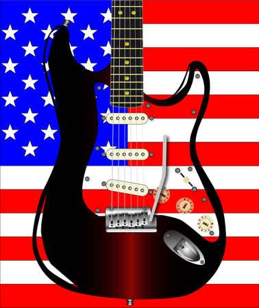 pickups: La bandiera stelle e strisce USA con una chitarra rock sovrapposto. Vettoriali