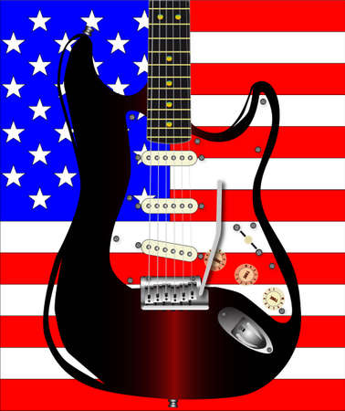 pickups: The USA Stars and Stripes flag with a rock guitar superimposed.