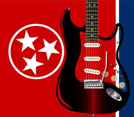 pickups: La bandiera Tennessee State con una chitarra rock sovrapposto.