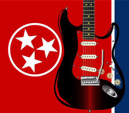 The Tennessee State flag with a rock guitar superimposed.
