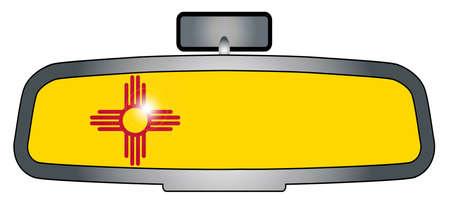 bandera mexico: Un espejo retrovisor del veh�culo con la bandera de New M�xico reflejada Vectores