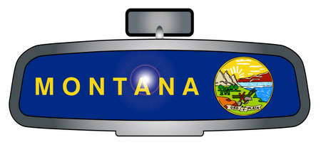 rear view mirror: A vehicle rear view mirror with the emblems from the state flag of Montana Illustration