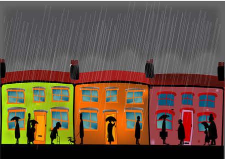 A heavy rain storm with the inhabitants returning home. 向量圖像