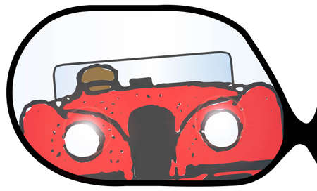 overtaking: A typical wing mirror with a fast sports car overtaking Illustration