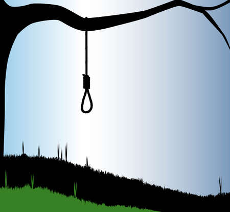 the noose: A hangmans noose tied to the branch of a tree in silhouette.