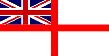ensign: The Union Jack naval flag known as the White Ensign Illustration