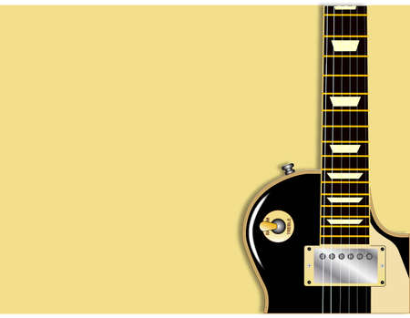 gibson: The definitive rock and roll guitar in black, isolated over a pale background