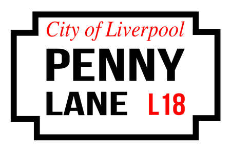 The sign for Penny Lane over a white background
