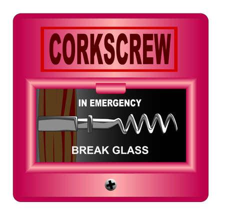 cork screw: A break glass fire alarm corkscrew over white