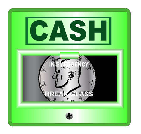 spoof: A spoof emergency cash box Illustration
