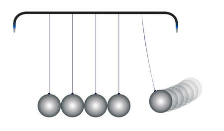 steel balls: A kinetic energy cradle loaded with five steel balls
