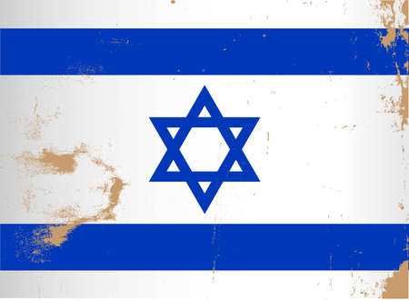 The flag of Israel in blue and white with the star of David with grunge effect Vector