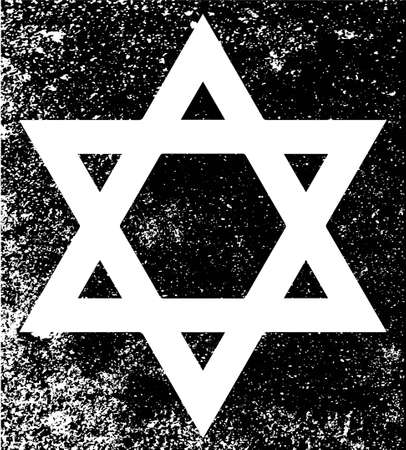 half tone: Star of the Flag of Israel in black and white half tone with grunge effect