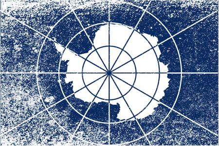 antartide: La bandiera accettato come la Bandiera di Antartide con grunge mostra la mappa di contorno del continente, accettata dal trattato internazionale